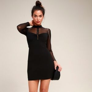 MESH LONG SLEEVE BODYCON DRESS LULUS